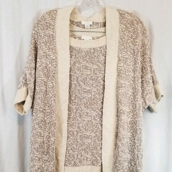 Chico's Sweaters - Chico's Beige Gray Twinset 3 Open Cardigan XL